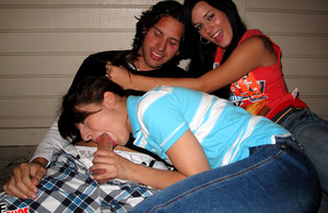 2 amazing hot teens get fucked hard against the garage door in this amazing 3some teen amateur pic set