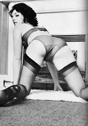Vintage ladies in retro stocking show her small tits