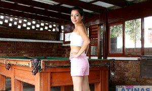 Fresh latin baby Sandra in pink shorts