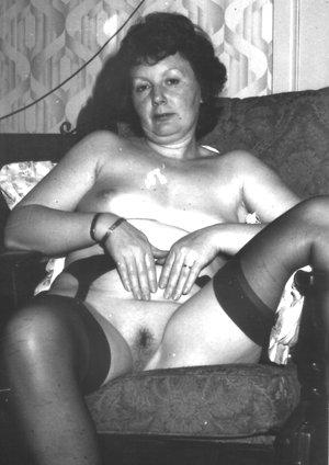 Granny retro lady with hairy pussy