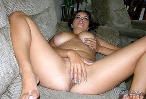 Sexy Amateur Latina MILF Strips Pajamas And Models Nude